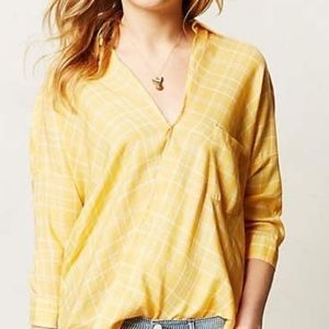 Holding Horses Anthropologie Yellow Plaid Top 2